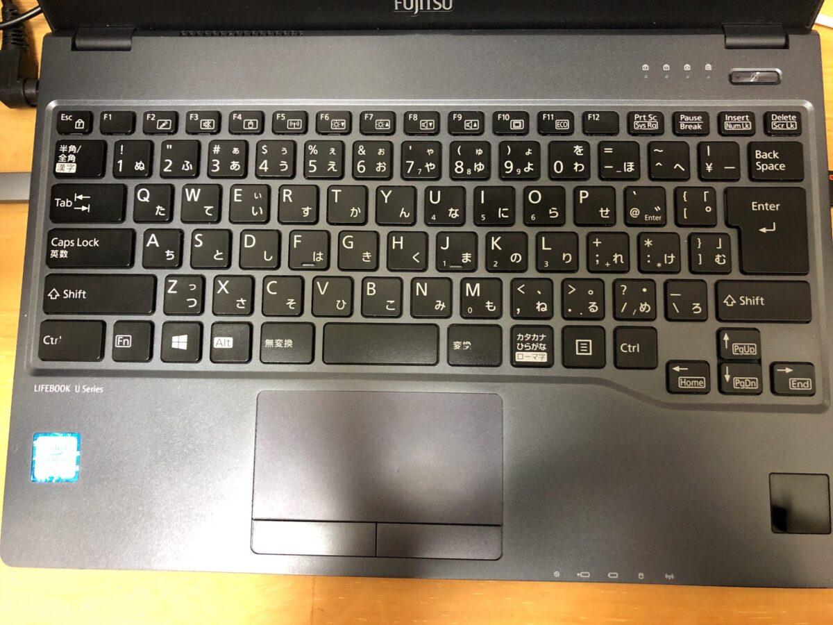 LIFEBOOK U938/Sのキーボード。使い慣れていることもあるけど、富士通のキーボード配列は本当に使いやすい。