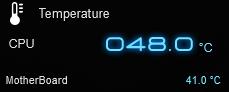 Ryzen純正ファンを白虎弐に、ケースをAntec P5に交換後のアイドル時のCPU、マザーボード温度です。