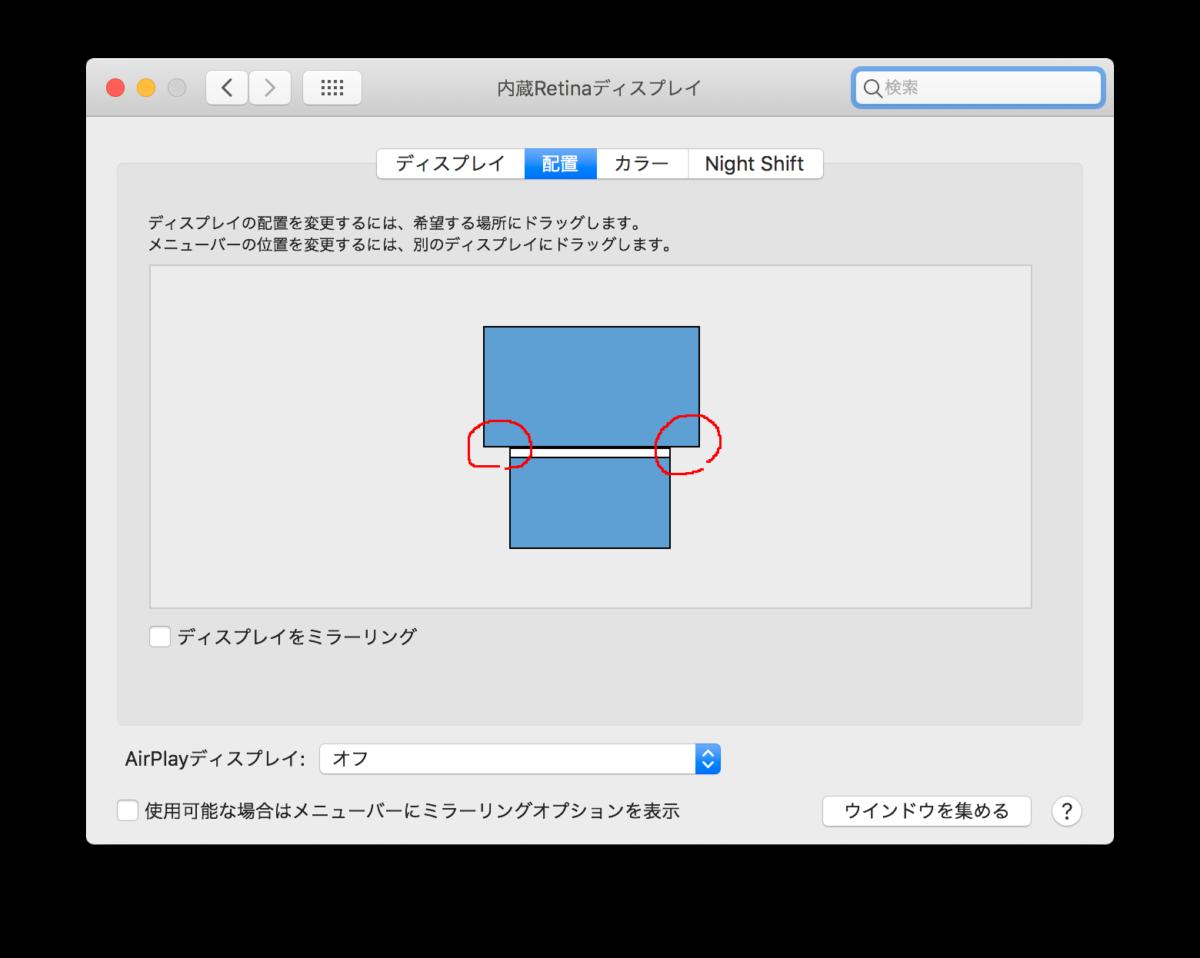 システム環境設定からディスプレイを選択し、画面配置設定を行っている画面です。赤枠で囲った部分にカーソルを持っていくと上画面のDockが表示される