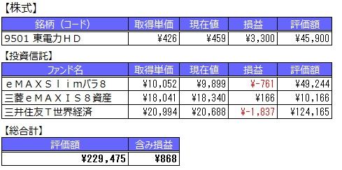 【損益サマリ】2017/05/21時点 日本株式や投資信託始めました