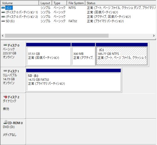 ディスク管理上では「ダイナミックディスク 無効」となっています。このツールでは確認するだけで何も手が出せません。