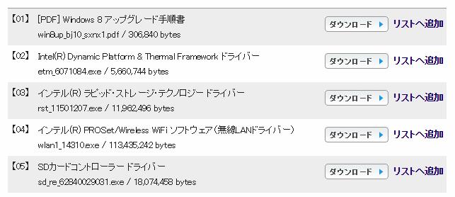 パナソニックのドライバダウンロード画面。今回は「Intel(R) Dynamic Platform & Thermal Framework ドライバー」をダウンロードして利用します。